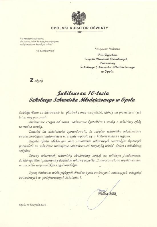 Rok 2010 - List gratulacyjny Opolskiego Kuratora Oświaty z okazji Jubileuszu 10-lecia SSM
