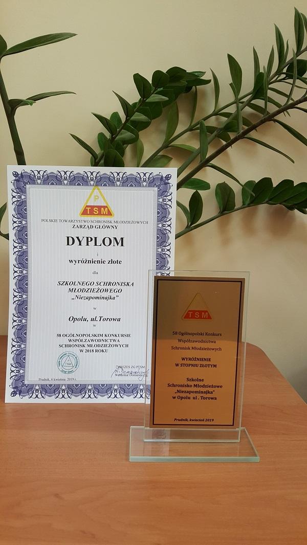 Rok 2018 - Złote wyróżnienie w 58 Ogólnopolskim Konkursie Współzawodnictwa Schronisk Młodzieżowych