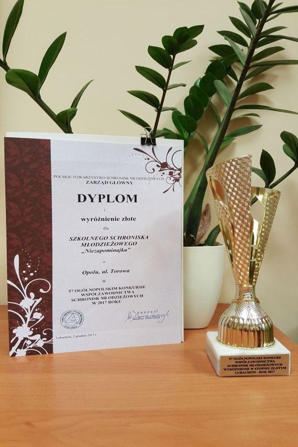 Rok 2017 - Złote wyróżnienie w 57 Ogólnopolskim Konkursie Współzawodnictwa Schronisk Młodzieżowych